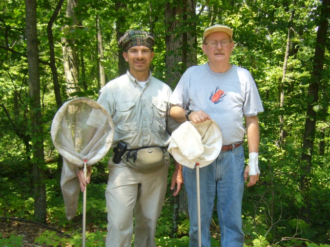 Me with the discoverer of Typocerus deceptus in Missouri Trail of Tears State Park, July 2008