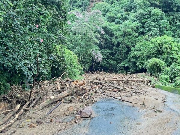 The first of many landslides that blocked our path.
