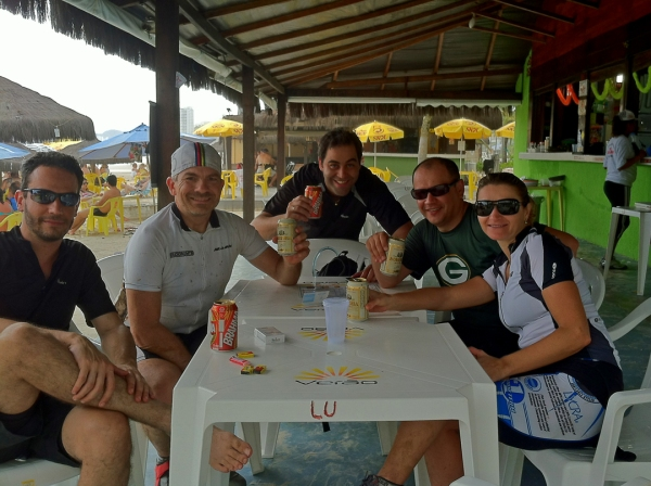 My Brazilian colleagues and I enjoy some well-deserved refreshments after our 53-km trek!