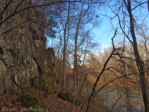 We were feeling good about our decision to ford the creek as we hiked below spectacular bluffs.