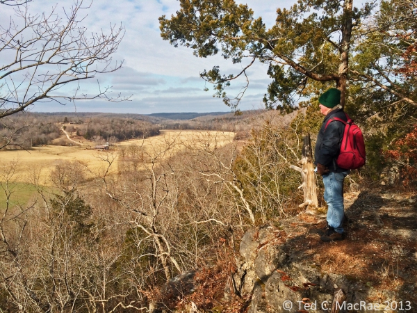 Friend and Ozark Trail co-conspirator Rich Thoma looks out over the Huzzah Creek Valley.