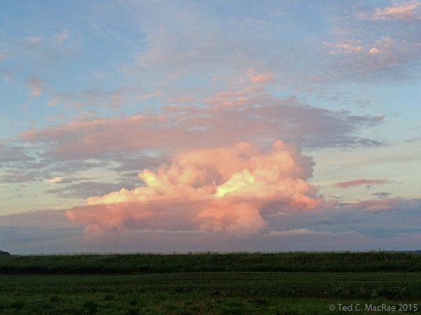 Sunset lit thunderclouds